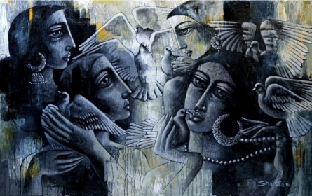 Shaista Momin | Acrylic Painting title Togetherness on Canvas | Artist Shaista Momin Gallery | ArtZolo.com