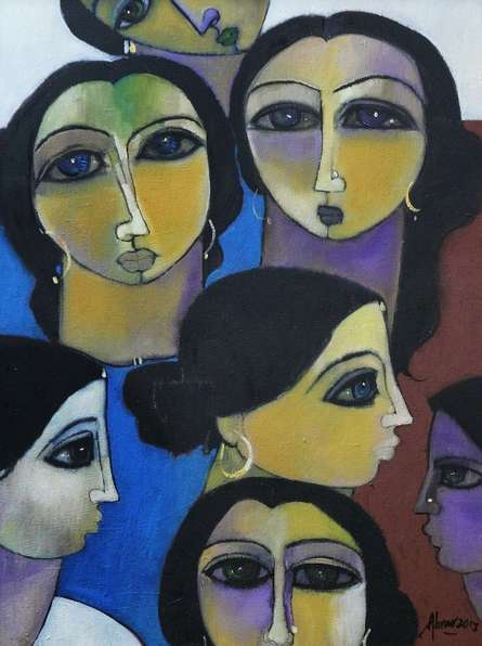 Abrar Ahmed | Oil Painting title Women In Group on Canvas | Artist Abrar Ahmed Gallery | ArtZolo.com