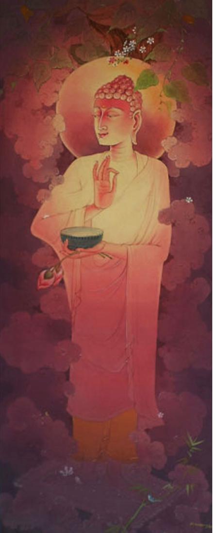 Religious Gouache Art Painting title 'Lord Buddha 2' by artist Swapan Das