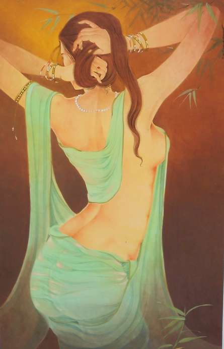 Nude Gouache Art Painting title Back Beauty by artist Swapan Das