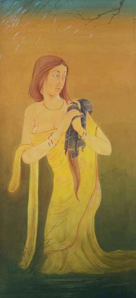 Figurative Gouache Art Painting title 'Bating Lady' by artist Swapan Das