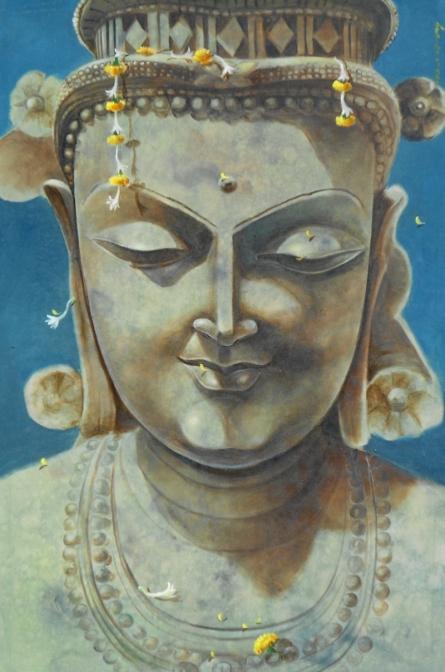 Religious Acrylic Art Painting title 'Gautama Buddha' by artist Swapan Das
