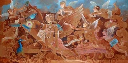 art, beauty, painting, acrylic, canvas, religious, god, krishna leela