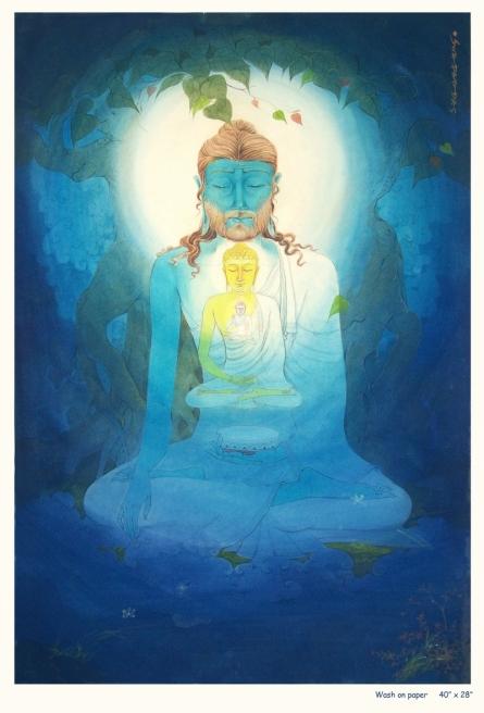 Swapan Das | Gouche Painting title Lord Buddha 5 on Paper | Artist Swapan Das Gallery | ArtZolo.com