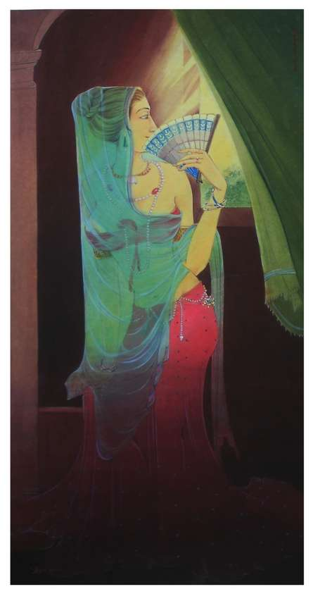 Figurative Gouache Art Painting title Morning Light by artist Swapan Das
