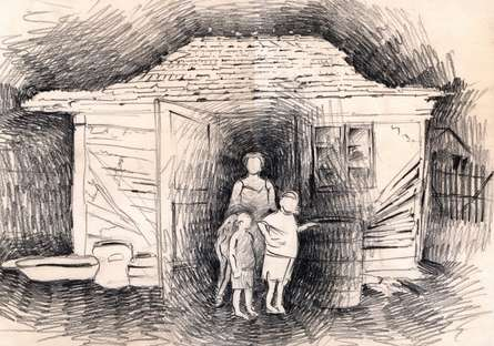 Charcoal Paintings | Drawing title 6 Family at hut entrance on Paper | Artist Abhay Gupta