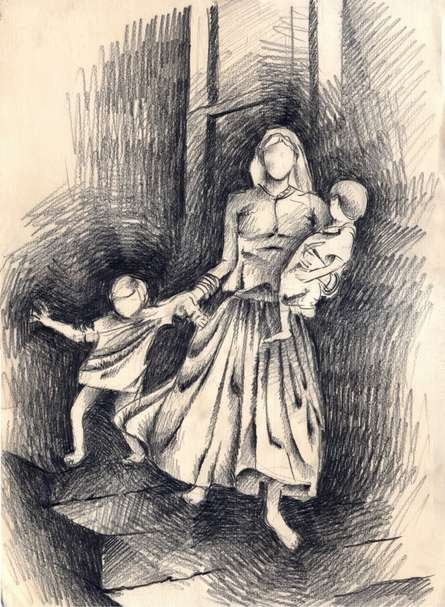 Charcoal Paintings | Drawing title 8 Mother with Naughty kids on Paper | Artist Abhay Gupta