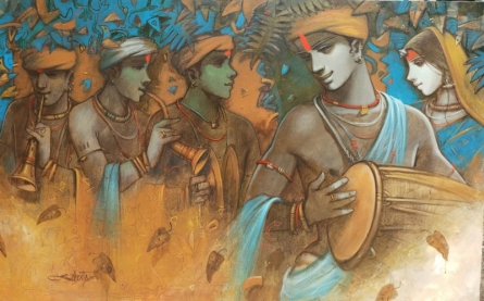 Figurative Acrylic Art Painting title 'Tune Of Life' by artist Subrata Das