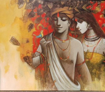 Figurative Acrylic Art Painting title 'Tune Of Life 2' by artist Subrata Das