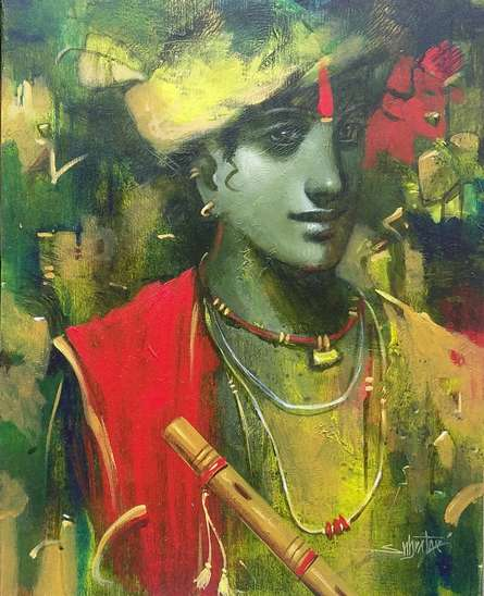 Religious Acrylic Art Painting title 'Tune Of Love' by artist Subrata Das