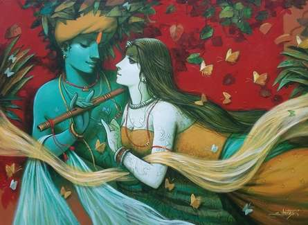 Religious Acrylic Art Painting title 'Tune Of Love 1' by artist Subrata Das