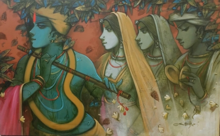 Religious Acrylic Art Painting title Tune Of Love 1 by artist Subrata Das