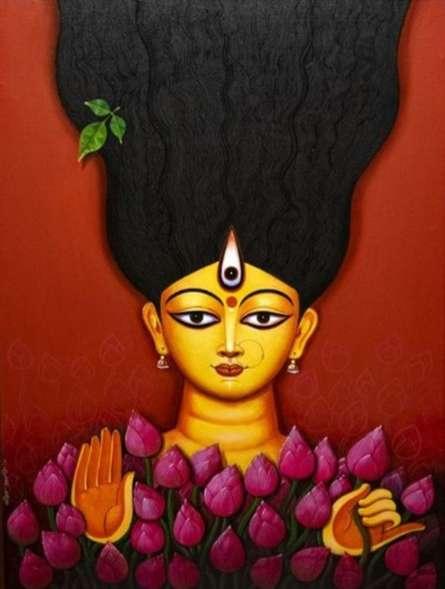 Religious Acrylic Art Painting title Durga by artist RAJIB DEYASHI
