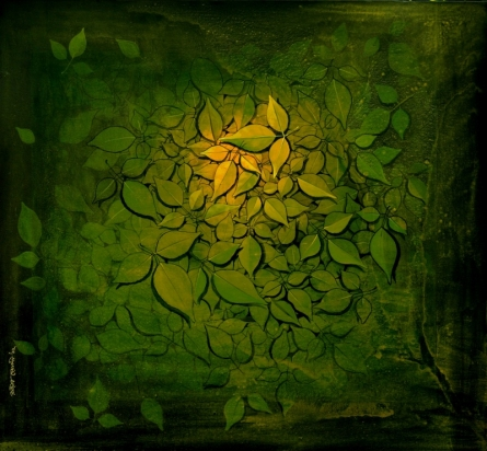Religious Acrylic Art Painting title Hirannya Garbha by artist RAJIB DEYASHI