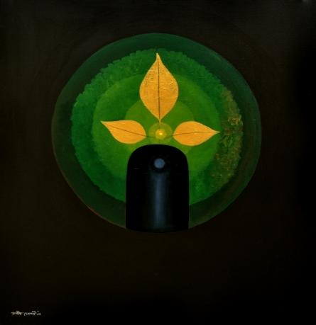 Religious Acrylic Art Painting title 'Trinayan' by artist RAJIB DEYASHI