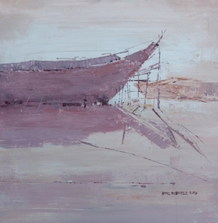 Seascape Watercolor Art Painting title 'Boat 1' by artist Amol Dubhele