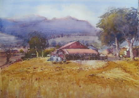 Landscape Watercolor Art Painting title 'Sinnar' by artist Amol Dubhele