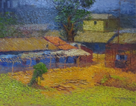 Village Morning | Painting by artist Amol Dubhele | watercolor | Paper