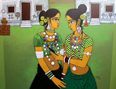 Figurative Acrylic Art Painting title 'Gossiping' by artist GAJRAJ CHAVAN