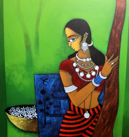 Figurative Acrylic Art Painting title 'Lady With Flower' by artist GAJRAJ CHAVAN