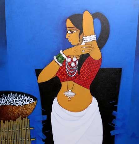 Figurative Acrylic Art Painting title Lady With Flower 2 by artist GAJRAJ CHAVAN