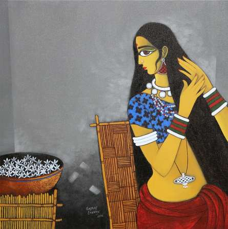 GAJRAJ CHAVAN | Acrylic Painting title Sringar on Canvas | Artist GAJRAJ CHAVAN Gallery | ArtZolo.com