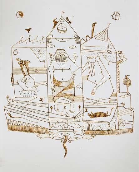 Temple   Drawing by artist Darshan Mahajan      Pen&Ink   Paper