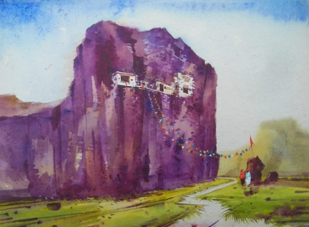 Landscape Watercolor Art Painting title 'China Temple' by artist Yogesh Lahane