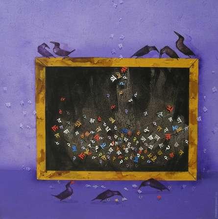 Animals Acrylic Art Painting title 'Crow' by artist Yogesh Lahane