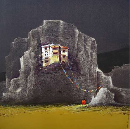 God Visit | Painting by artist Yogesh Lahane | acrylic | Canvas