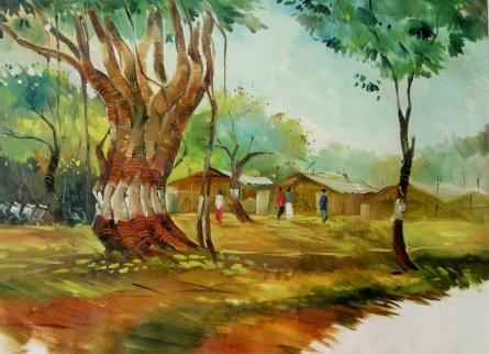 Landscape Oil Art Painting title Golden Light by artist Yogesh Lahane