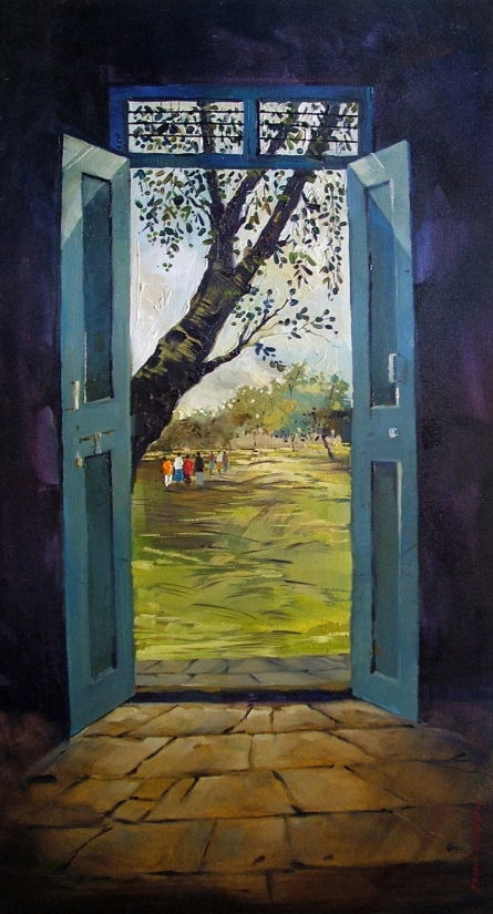 Landscape Oil Art Painting title Golden Door by artist Yogesh Lahane