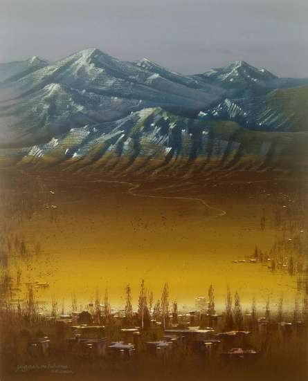 Landscape Acrylic Art Painting title 'Golden Light' by artist Yogesh Lahane