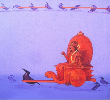 Yogesh Lahane | Acrylic Painting title Sarathi on Canvas | Artist Yogesh Lahane Gallery | ArtZolo.com