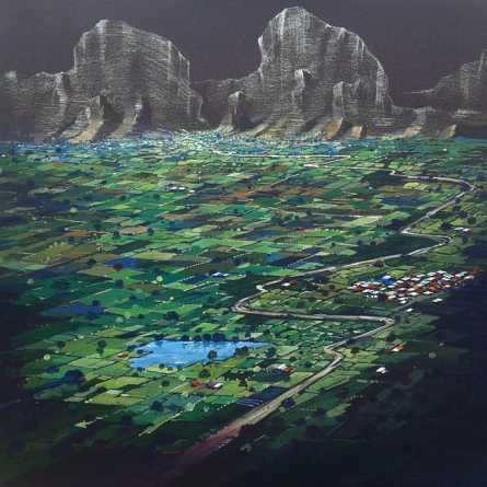 Landscape Acrylic Art Painting title Top View Of My Village by artist Yogesh Lahane