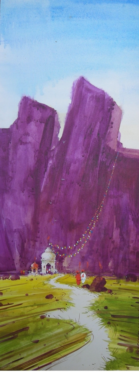 Yogesh Lahane | Watercolor Painting title Village Temple on Paper | Artist Yogesh Lahane Gallery | ArtZolo.com