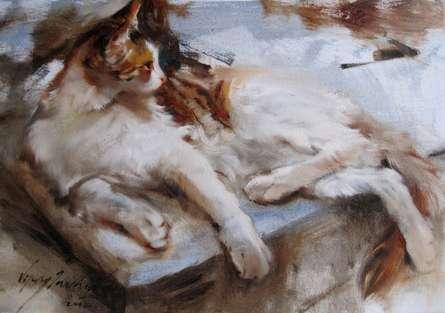 Cat | Painting by artist Vijay Jadhav | oil | Canvas