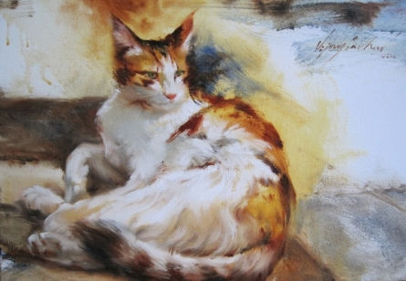 Animals Oil Art Painting title Cat 1 by artist Vijay Jadhav