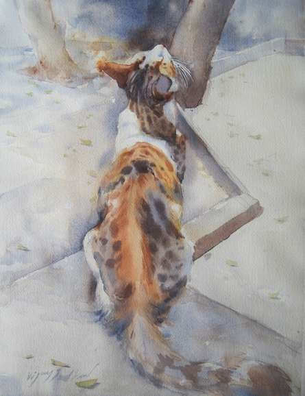 Animals Watercolor Art Painting title 'Cat 2' by artist Vijay Jadhav