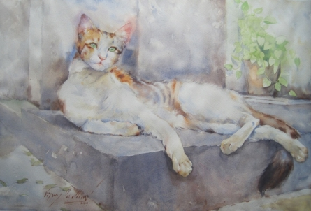 Cat 3 | Painting by artist Vijay Jadhav | watercolor | Paper