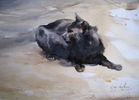 Vijay Jadhav | Watercolor Painting title Cat 4 on Paper | Artist Vijay Jadhav Gallery | ArtZolo.com