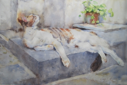 Animals Watercolor Art Painting title 'Cat 5' by artist Vijay Jadhav