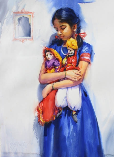 Figurative Watercolor Art Painting title 'Child Hood Fantacy 3' by artist Vijay Jadhav