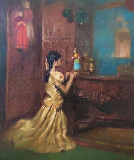 Figurative Oil Art Painting title Childhood Fantasty by artist Vijay Jadhav