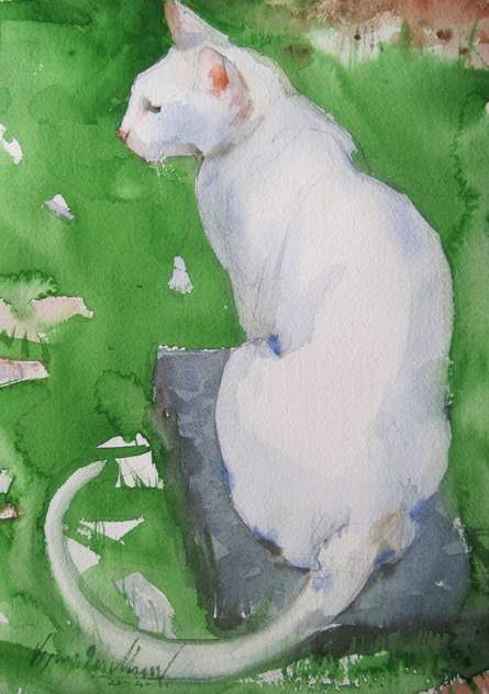 Animals Watercolor Art Painting title 'Green Carpat 2' by artist Vijay Jadhav