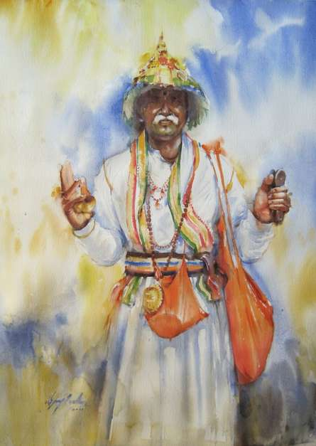 Holy Presence In Morning | Painting by artist Vijay Jadhav | watercolor | Paper