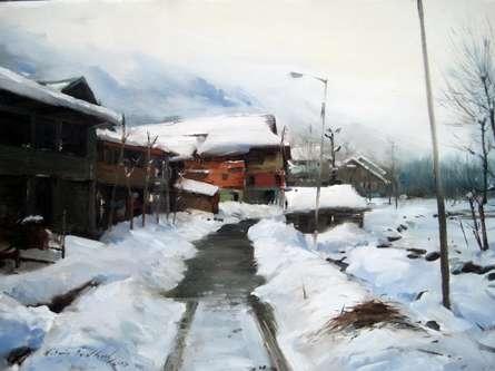 Cityscape Oil Art Painting title Kashmir 4 by artist Vijay Jadhav