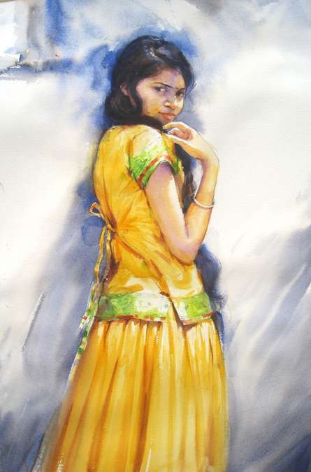 Figurative Watercolor Art Painting title 'Minaxi 1' by artist Vijay Jadhav