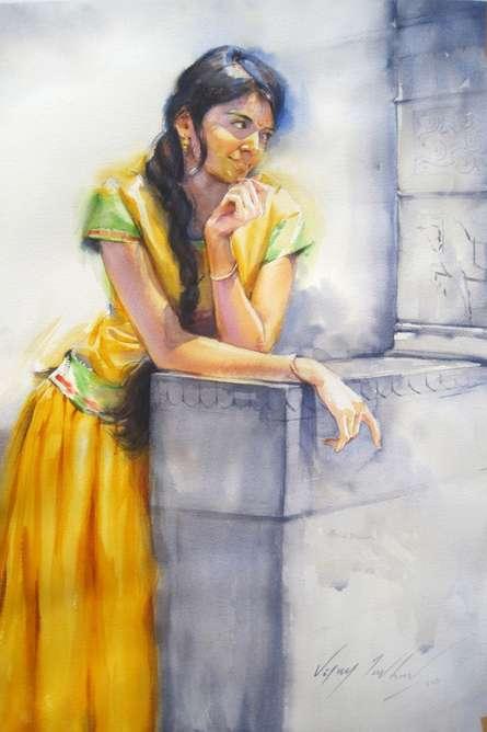 Figurative Watercolor Art Painting title Minaxi 2 by artist Vijay Jadhav