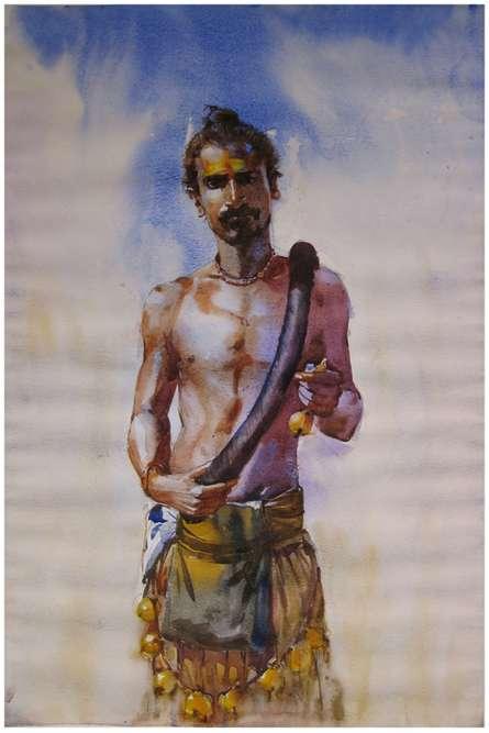 Figurative Watercolor Art Painting title 'Potraj' by artist Vijay Jadhav